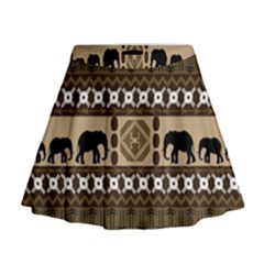 Elephant African Vector Pattern Mini Flare Skirt