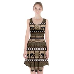 Elephant African Vector Pattern Racerback Midi Dress