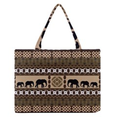 Elephant African Vector Pattern Medium Zipper Tote Bag