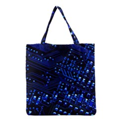Blue Circuit Technology Image Grocery Tote Bag