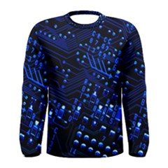 Blue Circuit Technology Image Men s Long Sleeve Tee