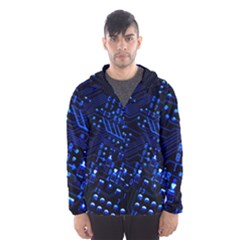 Blue Circuit Technology Image Hooded Wind Breaker (men) by BangZart