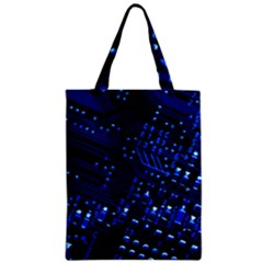 Blue Circuit Technology Image Zipper Classic Tote Bag
