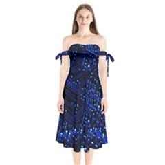 Blue Circuit Technology Image Shoulder Tie Bardot Midi Dress