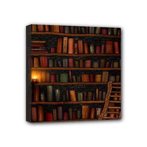 Books Library Mini Canvas 4  X 4