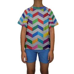 Charming Chevrons Quilt Kids  Short Sleeve Swimwear