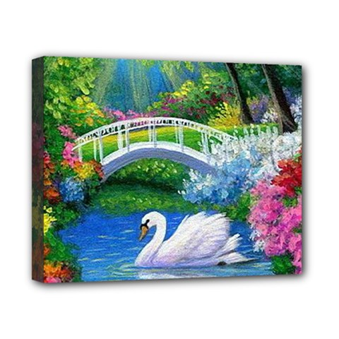 Swan Bird Spring Flowers Trees Lake Pond Landscape Original Aceo Painting Art Canvas 10  X 8