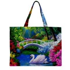 Swan Bird Spring Flowers Trees Lake Pond Landscape Original Aceo Painting Art Zipper Mini Tote Bag by BangZart
