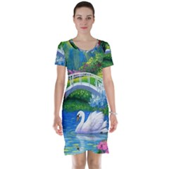 Swan Bird Spring Flowers Trees Lake Pond Landscape Original Aceo Painting Art Short Sleeve Nightdress