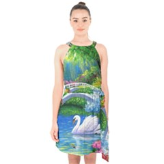Swan Bird Spring Flowers Trees Lake Pond Landscape Original Aceo Painting Art Halter Collar Waist Tie Chiffon Dress