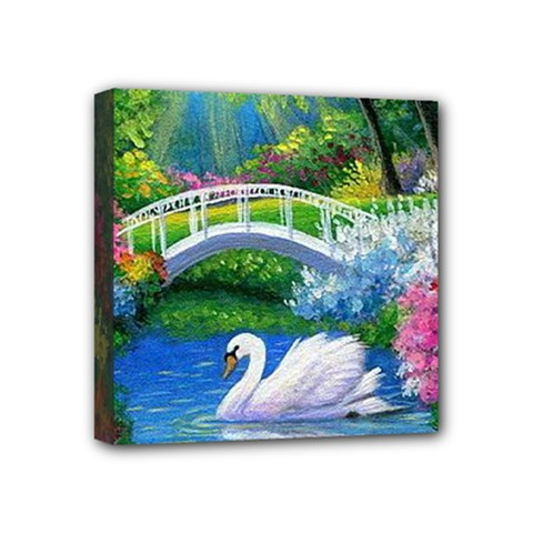 Swan Bird Spring Flowers Trees Lake Pond Landscape Original Aceo Painting Art Mini Canvas 4  X 4  by BangZart