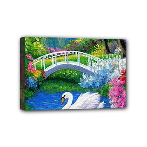 Swan Bird Spring Flowers Trees Lake Pond Landscape Original Aceo Painting Art Mini Canvas 6  X 4  by BangZart