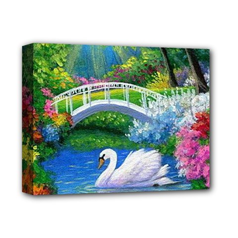 Swan Bird Spring Flowers Trees Lake Pond Landscape Original Aceo Painting Art Deluxe Canvas 14  X 11  by BangZart