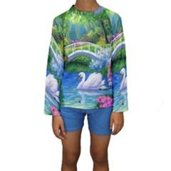 Swan Bird Spring Flowers Trees Lake Pond Landscape Original Aceo Painting Art Kids  Long Sleeve Swimwear
