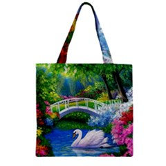 Swan Bird Spring Flowers Trees Lake Pond Landscape Original Aceo Painting Art Zipper Grocery Tote Bag by BangZart
