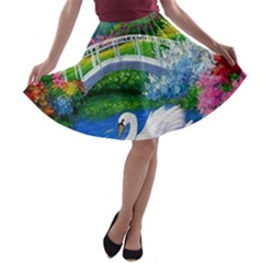 Swan Bird Spring Flowers Trees Lake Pond Landscape Original Aceo Painting Art A Line Skater Skirt
