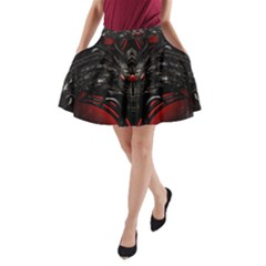 Black Dragon Grunge A Line Pocket Skirt