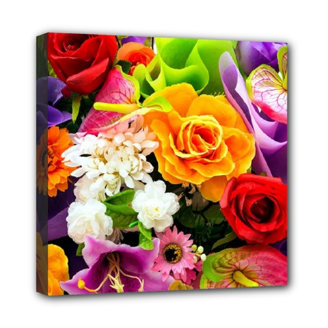 Colorful Flowers Mini Canvas 8  X 8
