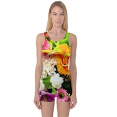 Colorful Flowers One Piece Boyleg Swimsuit