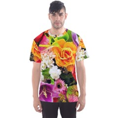 Colorful Flowers Men s Sports Mesh Tee