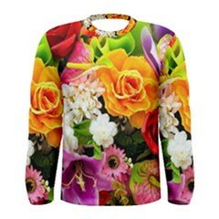 Colorful Flowers Men s Long Sleeve Tee