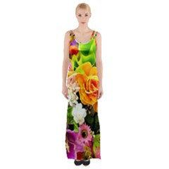 Colorful Flowers Maxi Thigh Split Dress