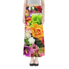 Colorful Flowers Full Length Maxi Skirt