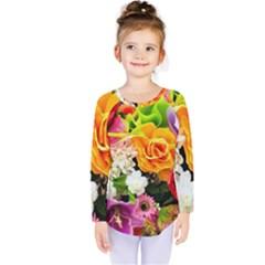 Colorful Flowers Kids  Long Sleeve Tee