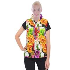 Colorful Flowers Women s Button Up Puffer Vest