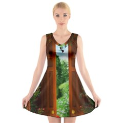 Beautiful World Entry Door Fantasy V Neck Sleeveless Skater Dress