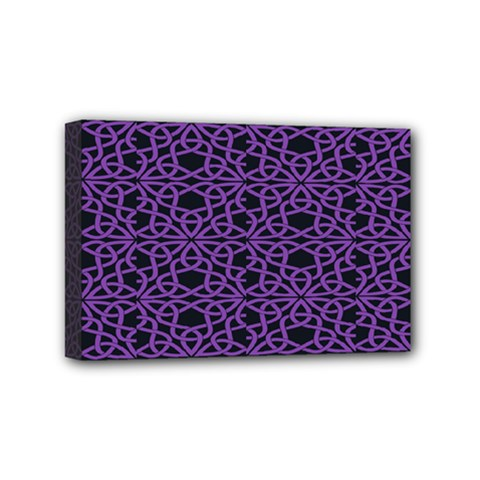 Triangle Knot Purple And Black Fabric Mini Canvas 6  X 4