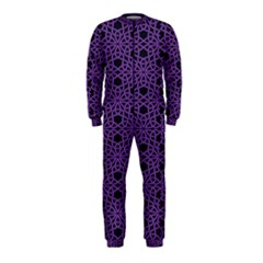 Triangle Knot Purple And Black Fabric Onepiece Jumpsuit (kids)