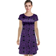 Triangle Knot Purple And Black Fabric Cap Sleeve Nightdress