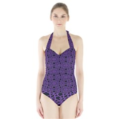 Triangle Knot Purple And Black Fabric Halter Swimsuit