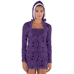 Triangle Knot Purple And Black Fabric Long Sleeve Hooded T Shirt