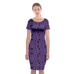 Triangle Knot Purple And Black Fabric Classic Short Sleeve Midi Dress