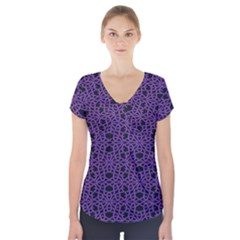 Triangle Knot Purple And Black Fabric Short Sleeve Front Detail Top