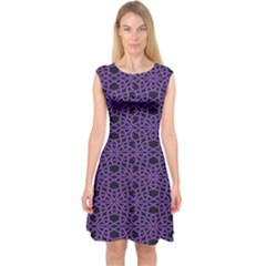 Triangle Knot Purple And Black Fabric Capsleeve Midi Dress