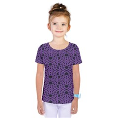 Triangle Knot Purple And Black Fabric Kids  One Piece Tee