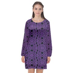 Triangle Knot Purple And Black Fabric Long Sleeve Chiffon Shift Dress