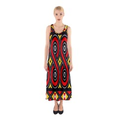 Toraja Traditional Art Pattern Sleeveless Maxi Dress