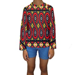 Toraja Traditional Art Pattern Kids  Long Sleeve Swimwear