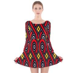 Toraja Traditional Art Pattern Long Sleeve Velvet Skater Dress