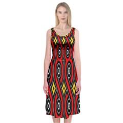 Toraja Traditional Art Pattern Midi Sleeveless Dress