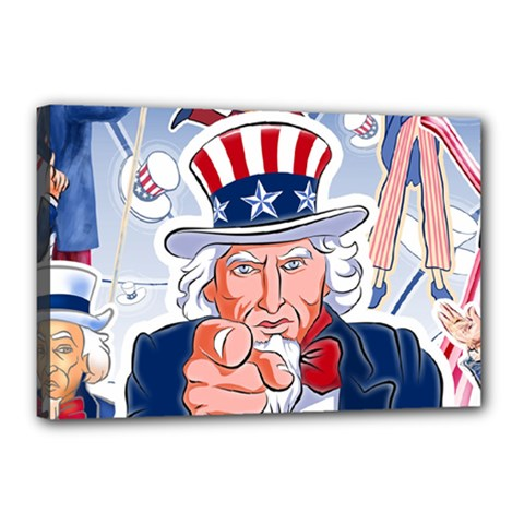 Independence Day United States Of America Canvas 18  X 12