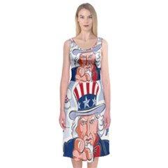 Independence Day United States Of America Midi Sleeveless Dress