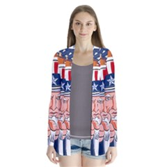 Independence Day United States Of America Drape Collar Cardigan