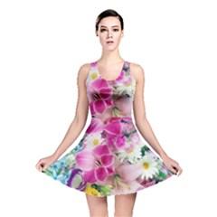 Colorful Flowers Patterns Reversible Skater Dress