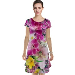 Colorful Flowers Patterns Cap Sleeve Nightdress