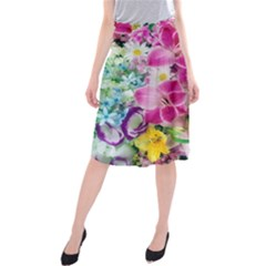 Colorful Flowers Patterns Midi Beach Skirt